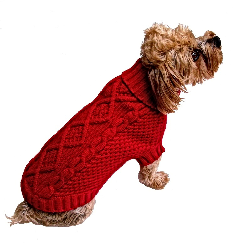 Dallas Dogs Sweater, Irish Knit Red, 16-in