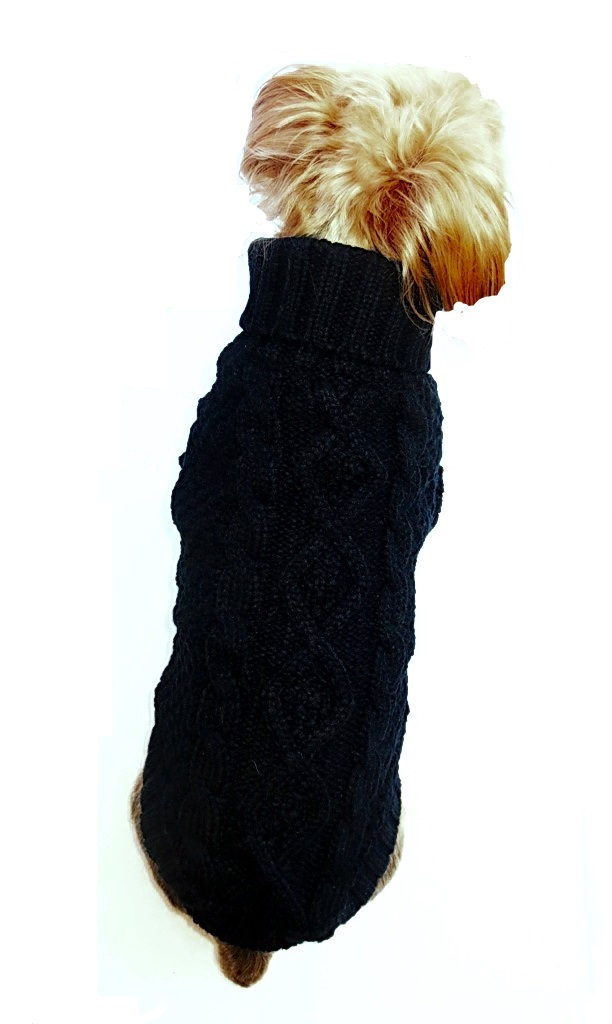 Dallas Dogs Sweater, Irish Knit Black, 14-in