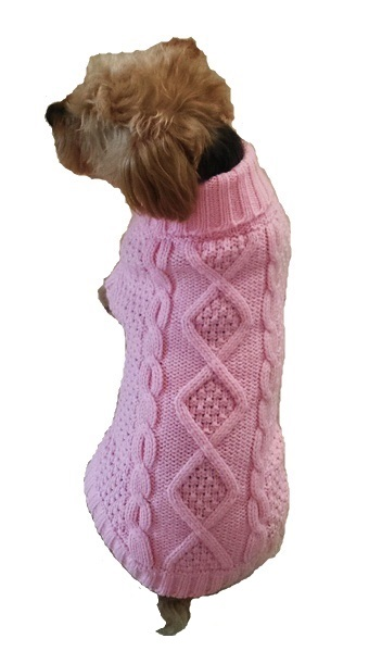Dallas Dogs Sweater, Irish Knit Cotton Candy Pink, 6-in