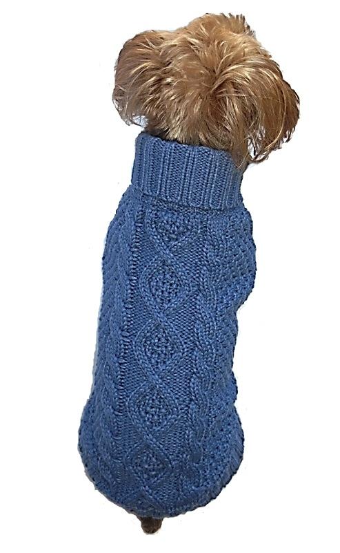 Dallas Dogs Sweater, Irish Knit Blue, 6-in