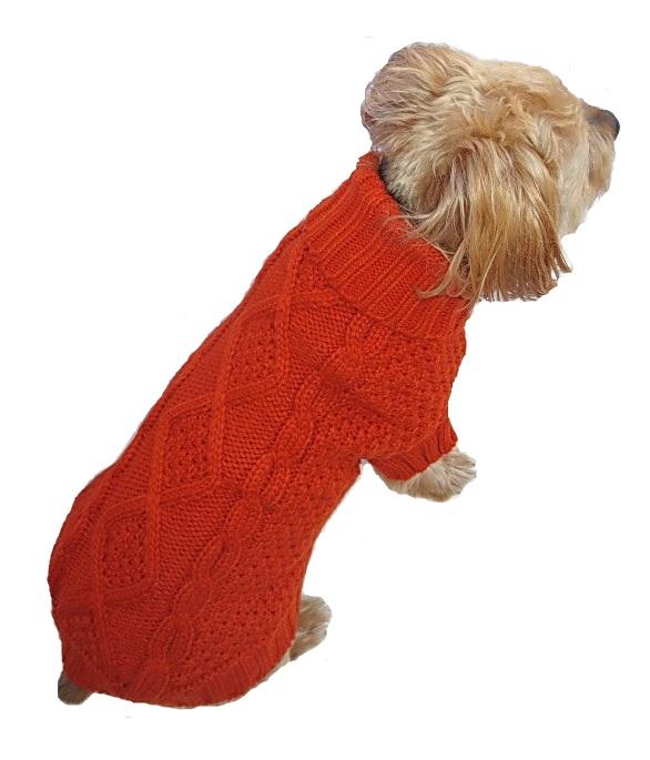 Dallas Dogs Sweater, Irish Knit Orange, 6-in