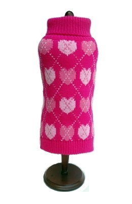 Dallas Dogs Sweater, Pink Argyle Hearts, 14-in