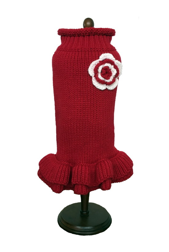 Dallas Dogs Sweater Dress, Red with White Flower, 6-in