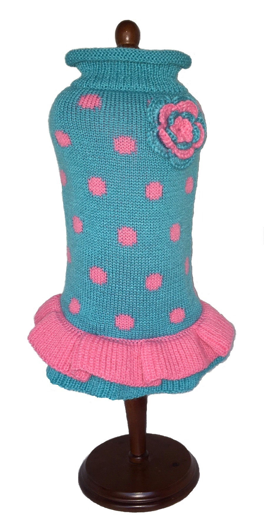 Dallas Dogs Sweater Dress, Turquoise & Pink Polka Dot, 8-in
