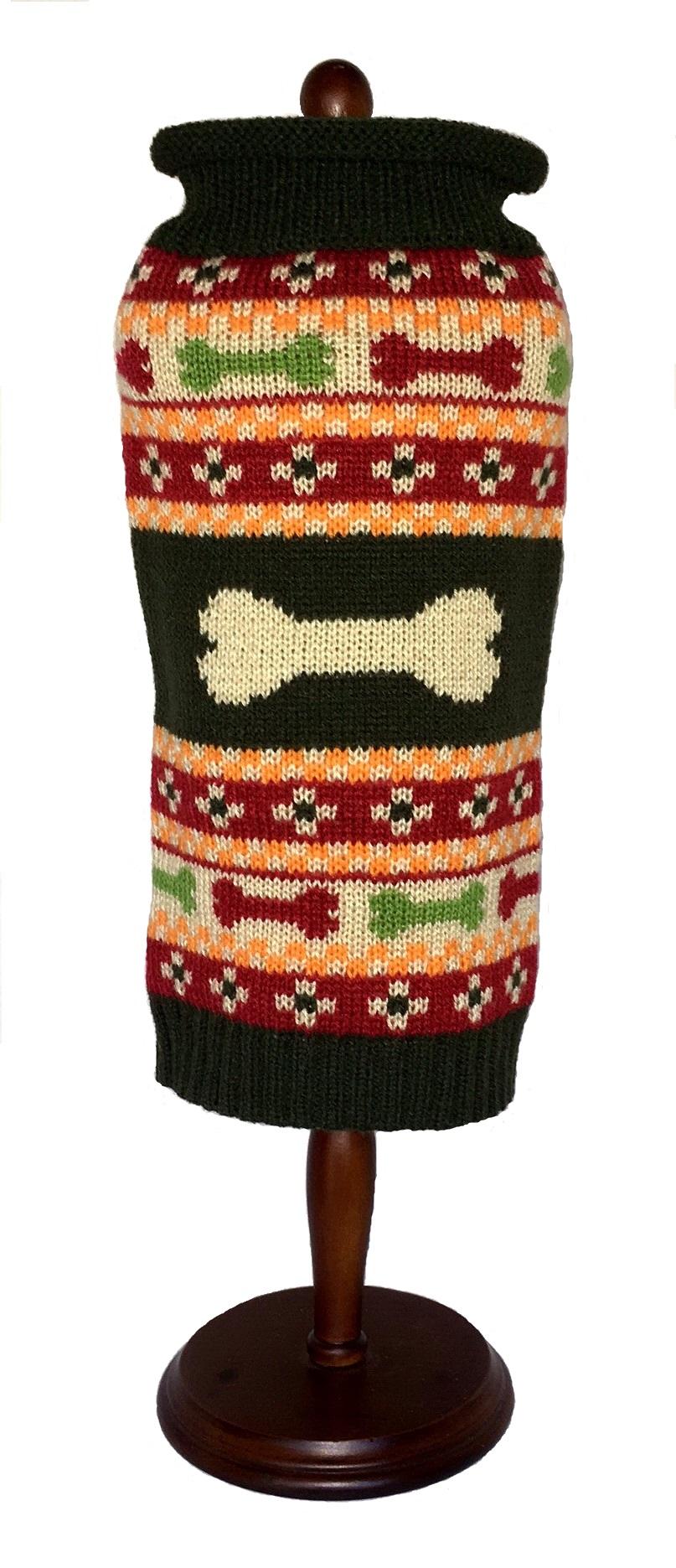 Dallas Dogs Sweater, Fair Isle Bones, 8-in