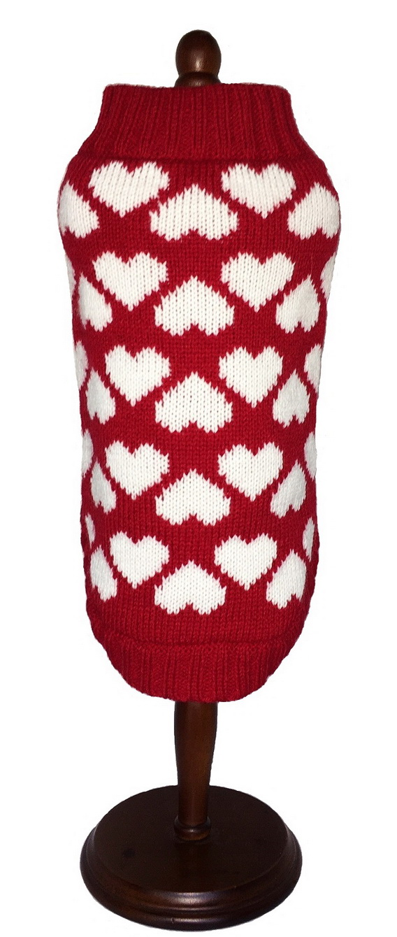 Dallas Dogs Sweater, Red with White Hearts, 8-in