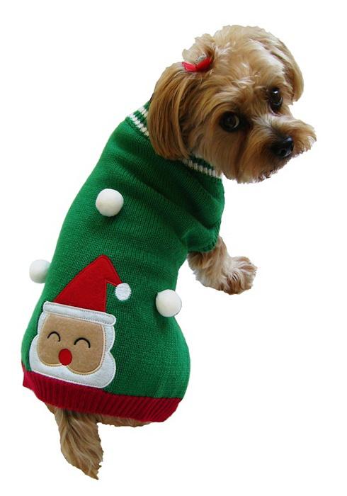 Dallas Dogs Sweater, Santa in Snow, 8-in