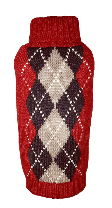 Dallas Dogs Sweater, Red Argyle New, 12-in