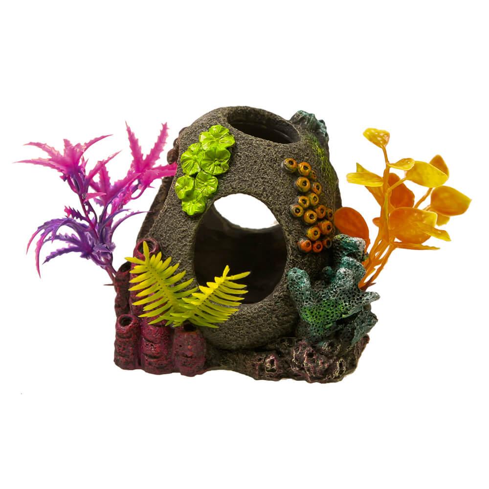 Blue Ribbon Exotic Environments Sunken Orb Floral Aquarium Ornaments