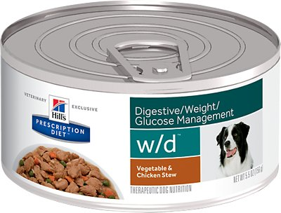 Hill's Prescription Diet w/d Digestive/ Weight/ Glucose Management Vegetable & Chicken Stew Canned Dog Food, 5.5-oz, case of 24