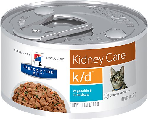 Hill's Prescription Diet k/d Kidney Care Vegetable & Tuna Stew Canned Cat Food, 2.9-oz, case of 24
