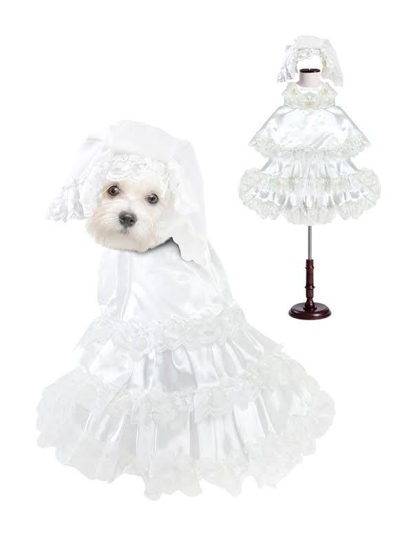 PAMPET / Puppe Love Dog Costume, Wedding Dress with Veil, Size 0