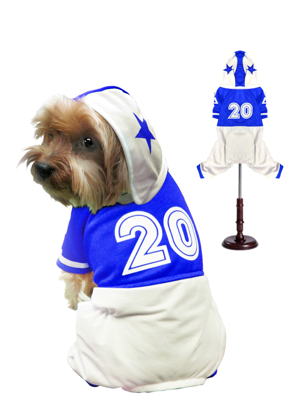 PAMPET / Puppe Love Dog Costume, Football Uniform Blue, Size 0
