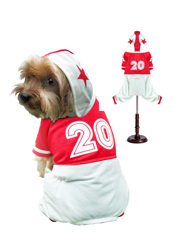 PAMPET / Puppe Love Dog Costume, Football Uniform Red, Size 0