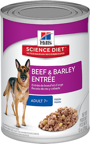 Hill's Science Diet Adult 7+ Beef & Barley Entree Canned Dog Food, 13-oz