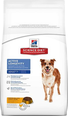 Hill's Science Diet Adult 7+ Active Longevity Chicken Meal, Rice & Barley Recipe Dry Dog Food, 33-lb bag