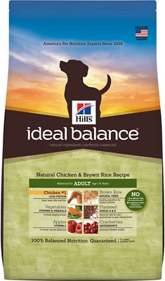 Hill's Ideal Balance Natural Chicken & Brown Rice Recipe Adult Dry Dog Food, 4-lb bag