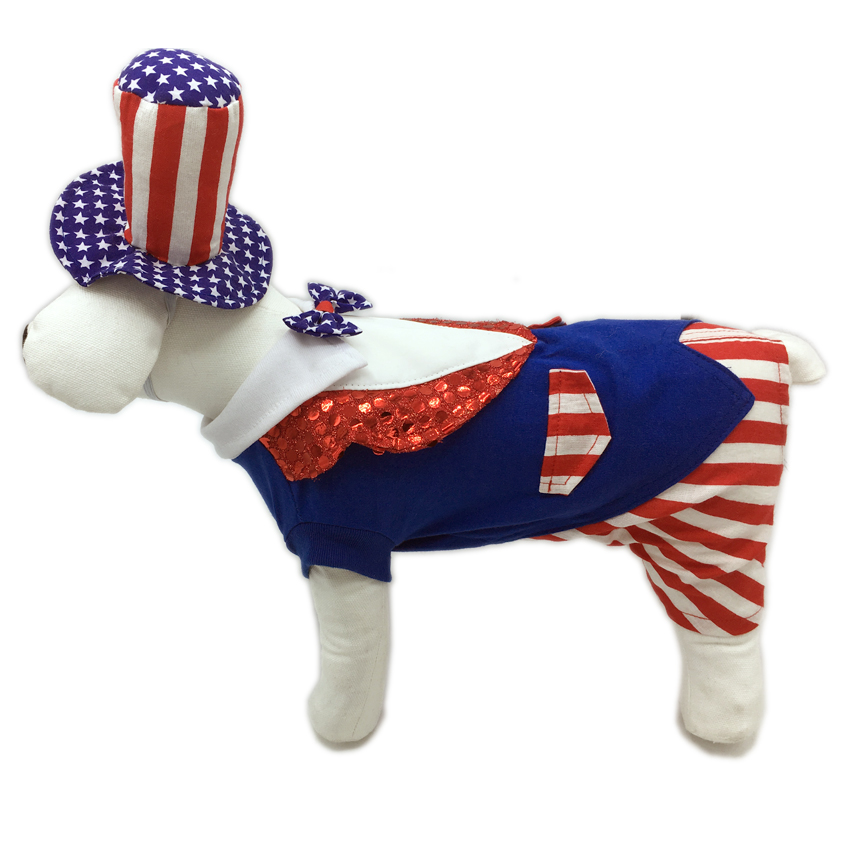 PAMPET / Puppe Love Dog Costume, Uncle Sam, Size 2