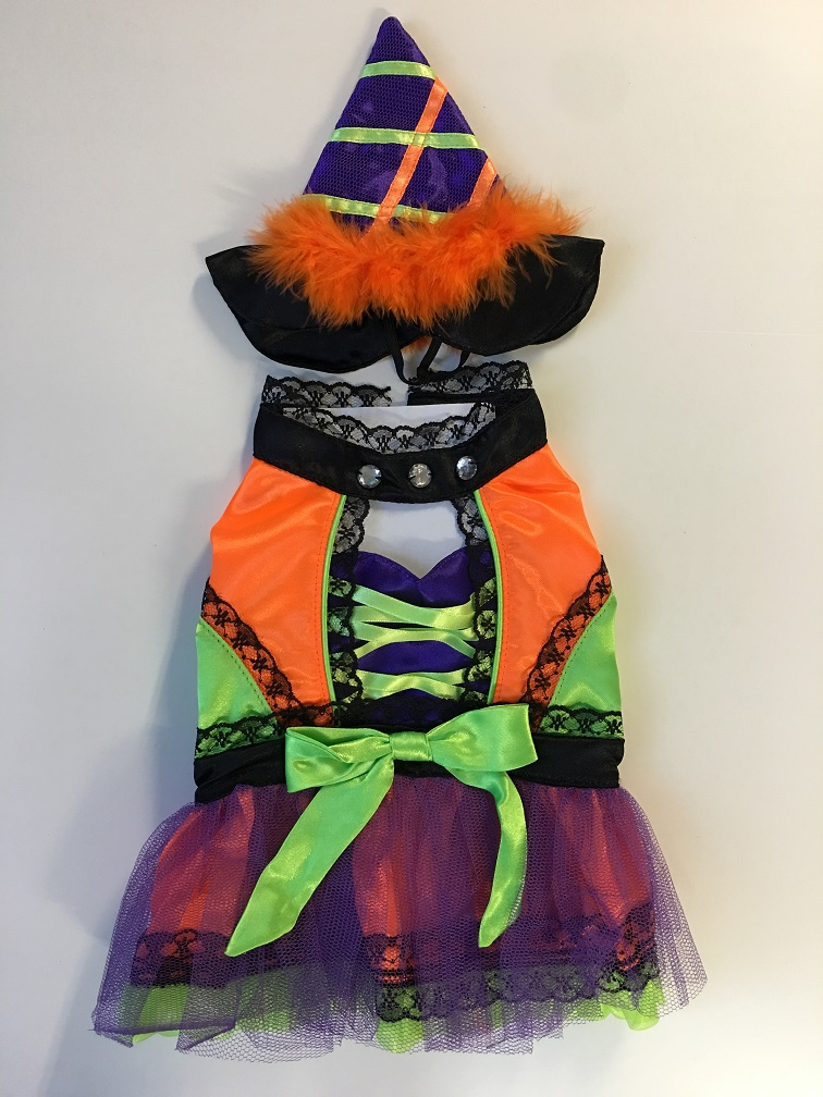 PAMPET / Puppe Love Dog Costume, Witch Neon Orange, Size 0
