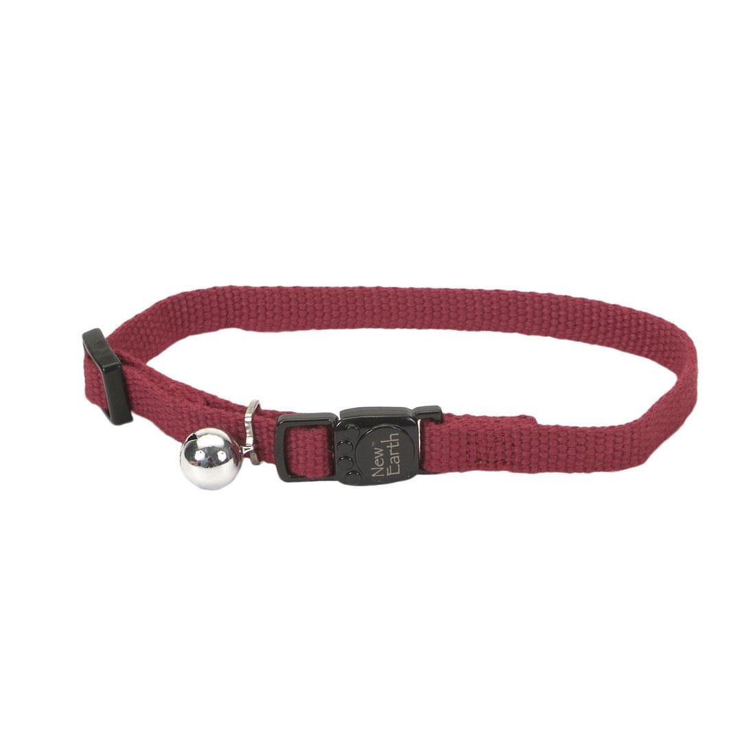 Coastal Pet New Earth Soy Adjustable Breakaway Cat Collar, Cranberry, 8-12-in