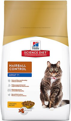 Hill's Science Diet Adult 7+ Hairball Control Dry Cat Food, 7-lb bag