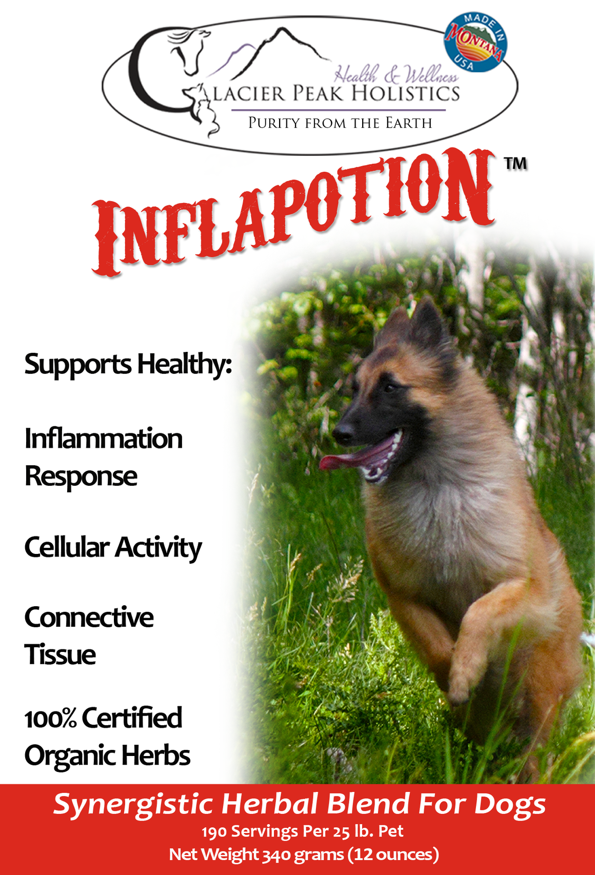 Glacier Peak Holistics Inflapotion Powder Dog Supplement, 12-oz