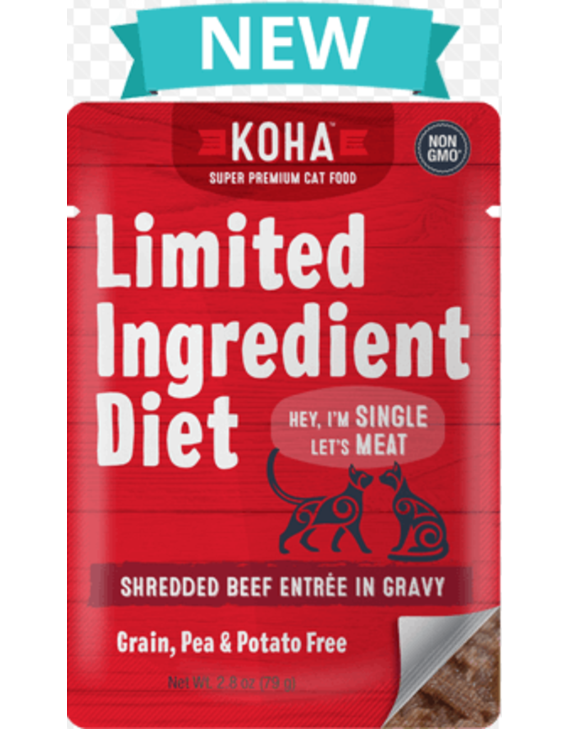 Koha Limited Ingredient Grain Free Beef Pate Cat Wet Food, 2.8-oz Pouch