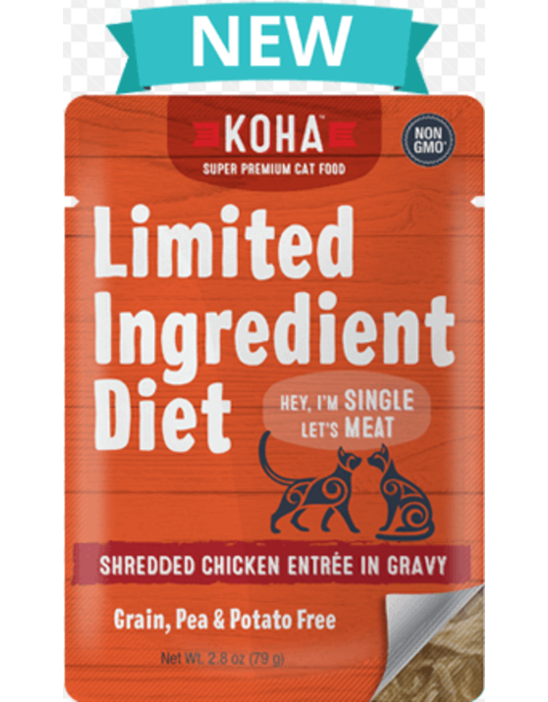 Koha Limited Ingredient Grain Free Shredded Chicken Entree in Gravy Wet Cat Food, 2.8-oz Pouch