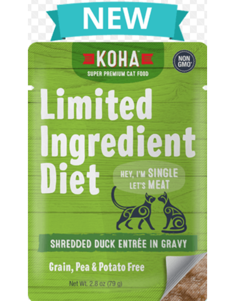 Koha Limited Ingredient Grain Free Shredded Duck Entree in Gravy Wet Cat Food, 2.8-oz Pouch