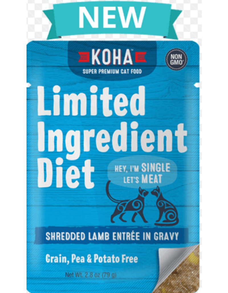 Koha Limited Ingredient Grain Free Shredded Lamb Entree in Gravy Wet Cat Food, 2.8-oz Pouch