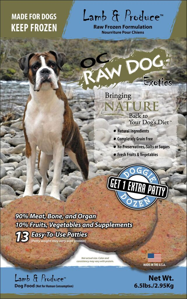 OC Raw Dog Lamb & Produce Patties Raw Frozen Dog Food, 6.5-lb