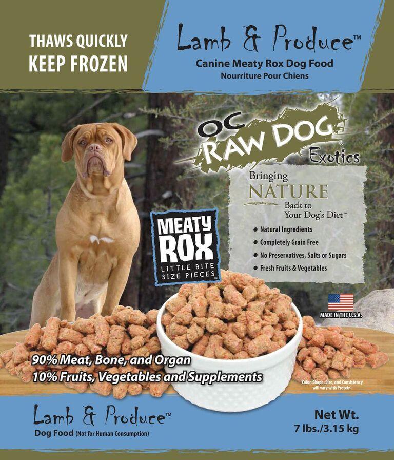 OC Raw Dog Lamb & Produce Meaty Rox Raw Frozen Dog Food, 7-lb