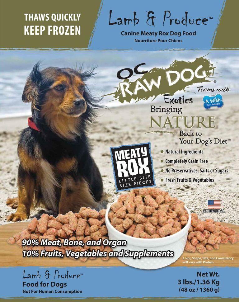 OC Raw Dog Lamb & Produce Meaty Rox Raw Frozen Dog Food, 3-lb