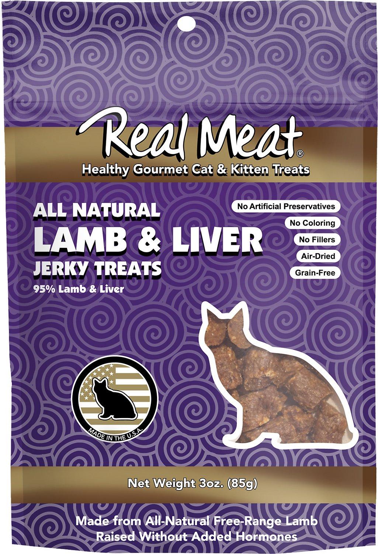 The Real Meat Company 95% Lamb & Liver Jerky Bites Cat Treats, 3-oz bag