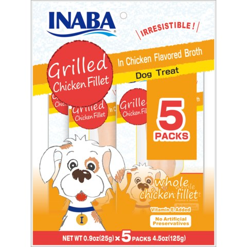 Inaba Grilled Chicken Fillet In Chicken Flavored Broth Dog Treat, 5-pack