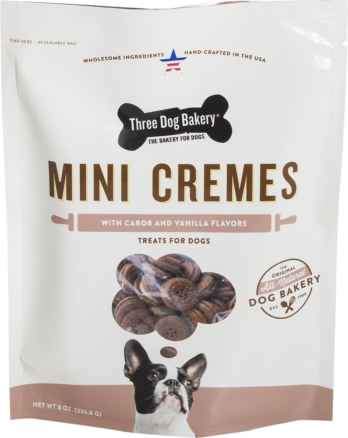 Three Dog Bakery Mini Classic Cremes Carob Cookies with Natural Vanilla Flavor Filling Packaged Everyday Treats, 8-oz bag Weights: 9.28 ounces