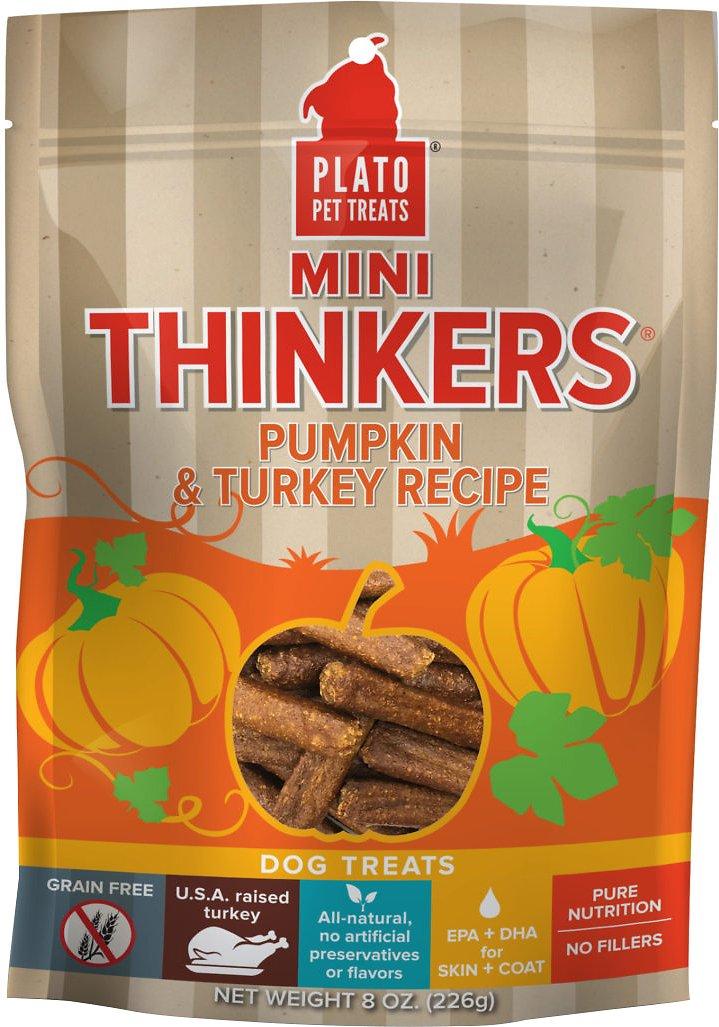 Plato Mini Thinkers Pumpkin & Turkey Recipe Grain-Free Dog Treats, 8-oz