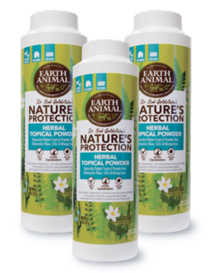 Earth Animal Nature's Protection Flea & Tick Herbal Topical Powder for Pets, 8-oz