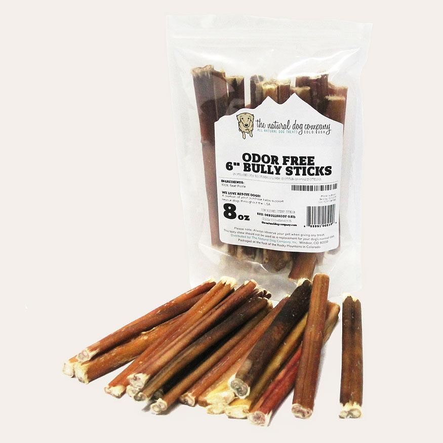 "The Natural Dog Company 6"" Bully Stick Odor Free Dog Treats, 8-oz"