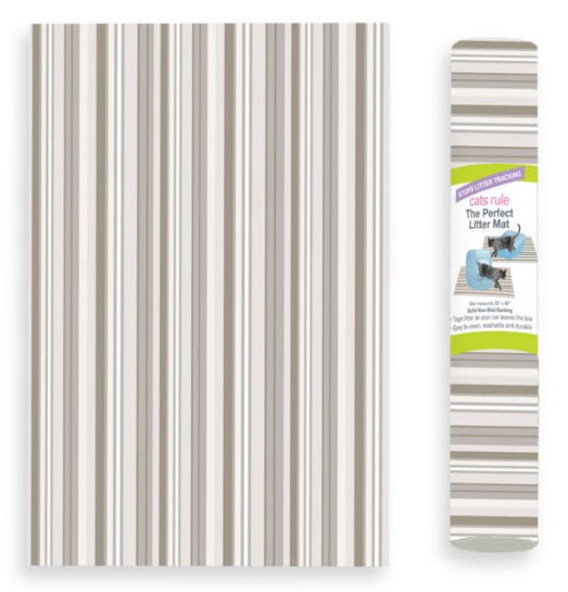 Cats Rule Perfect Litter Mat - Neutral Stripe