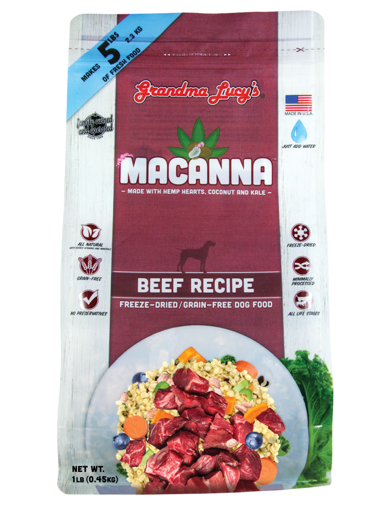 Grandma Lucy's Macanna Beef Freeze-Dried Grain-Free Dog Food, 3-lb Size: 3-lb