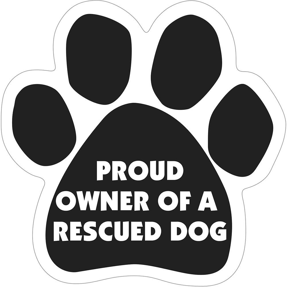 "Magnetic Pedigrees ""Proud Owner of a Rescued Dog"" Paw Magnet"