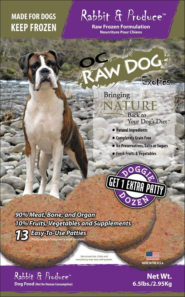 OC Raw Dog Rabbit & Produce Patties Raw Frozen Dog Food