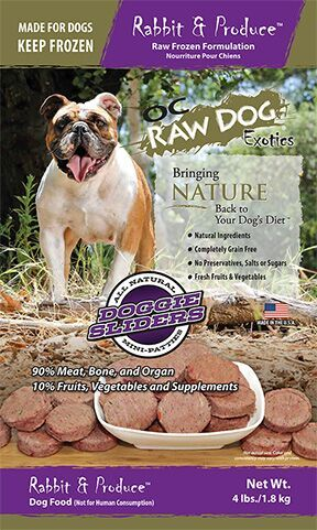 OC Raw Dog Rabbit & Produce Sliders Raw Frozen Dog Food, 4-lb