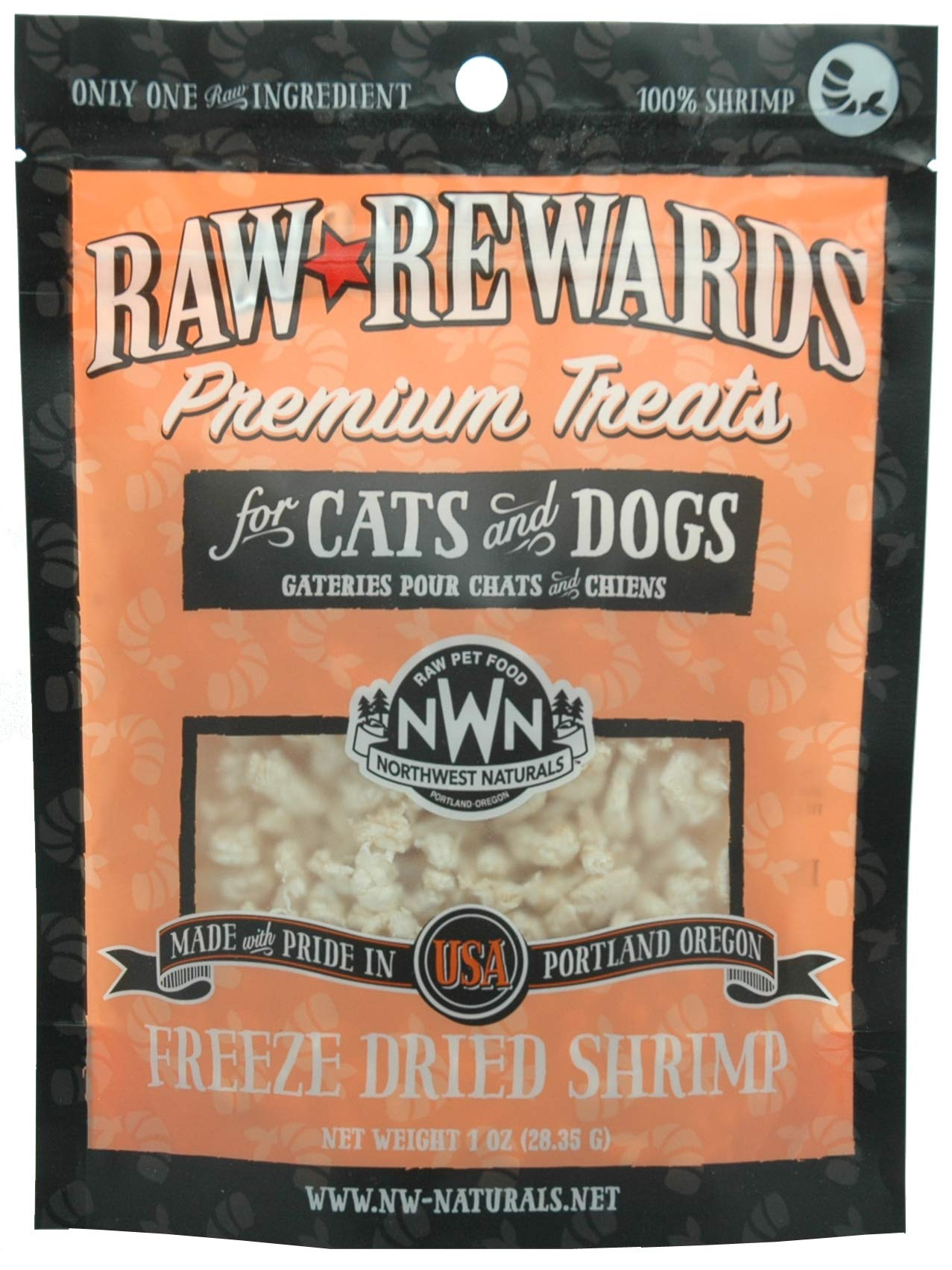 Northwest Naturals Raw Rewards Shrimp Freeze Dried Dog & Cats Treats, 1-oz