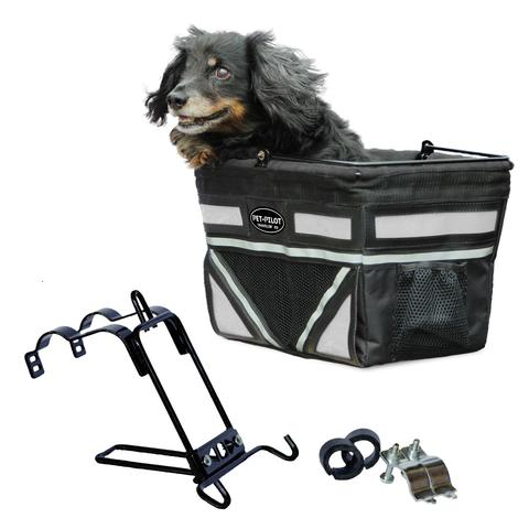 Travelin K9 2018 Pet-Pilot Bike Basket for Dogs & Cats, Silver