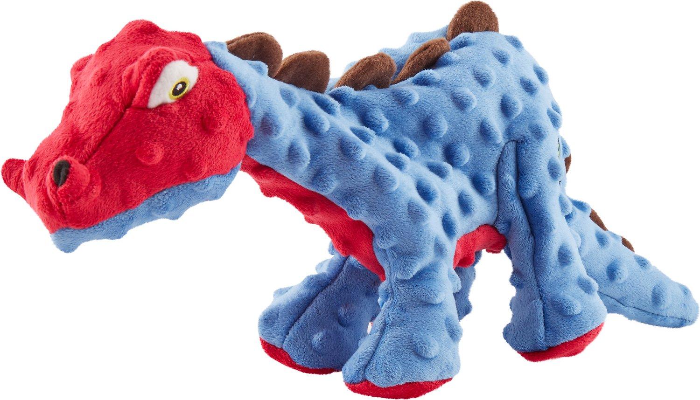 GoDog Dinos Chew Guard Spike Dog Toy, Blue, Large