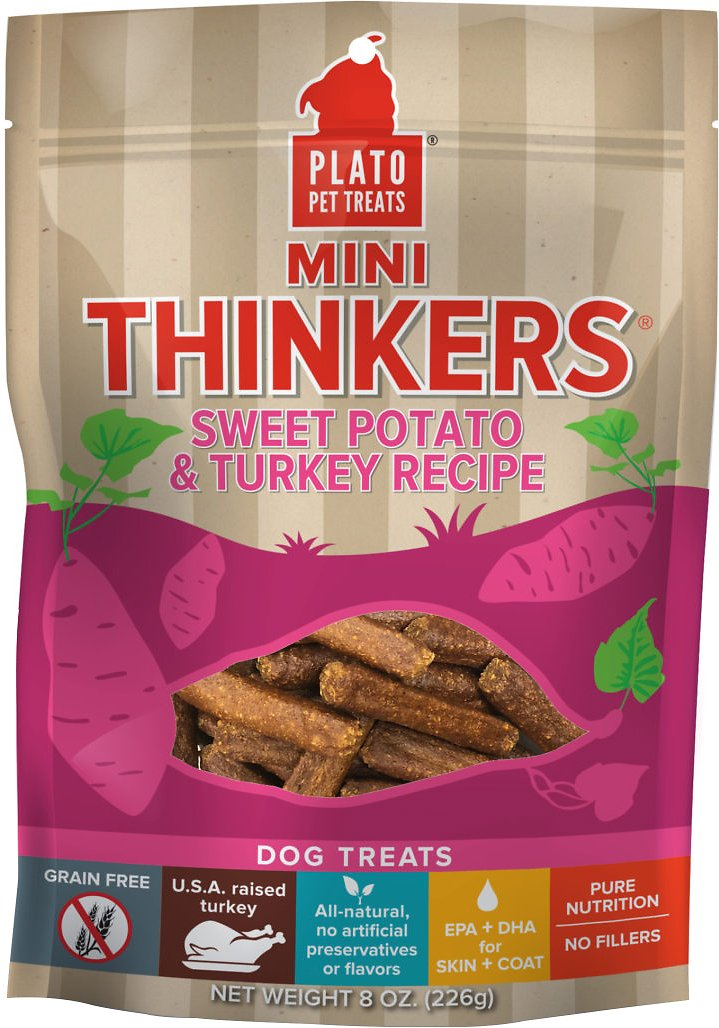 Plato Mini Thinkers Sweet Potato & Turkey Recipe Grain-Free Dog Treats, 8-oz