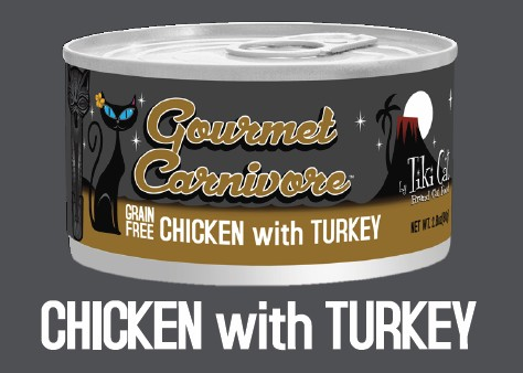 Tiki Cat Gourmet Carnivore Chicken with Turkey Grain-Free Canned Cat Food, 2.8-oz
