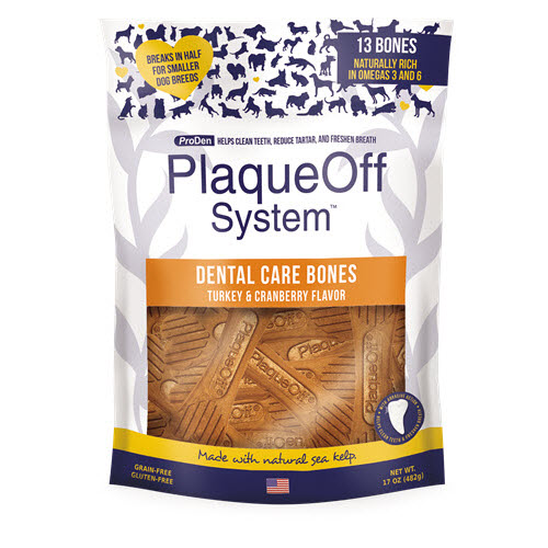 ProDen PlaqueOff System Dog Dental Care Bones Turkey & Cranberry Flavor, 17-oz bag